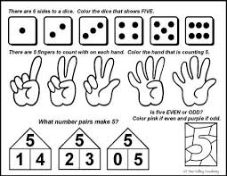 number bonds to 5 free math worksheets five dice free math and