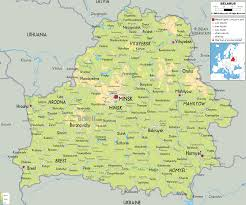map of belarus physical map of belarus ezilon maps