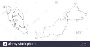 map malaysia vector malaysia outline silhouette map illustration with states stock