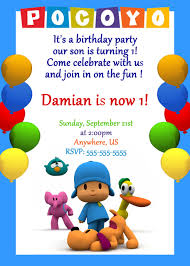 pocoyo and friends birthday personalized invitations
