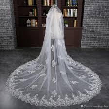 elegant 3 meter white ivory cathedral wedding veils long lace edge