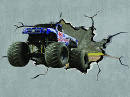 monster truck cracked wall effect sticker mural decal graphic zoom
