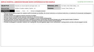 Library Resume Hospital Librarian Job Title Docs
