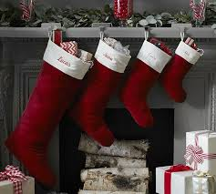 christmas stockings sale velvet stocking red with ivory cuff pottery barn