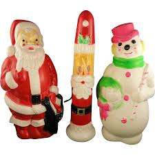 Blow Up Holiday Decorations 3 Vintage Christmas Empire Blow Mold Plastic Lighted Decorations