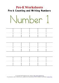 writing number 1 worksheet pre k worksheets org