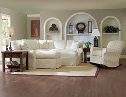 decorating appealing living room furniture decor with cozy elegant living room design with comfortable white slipcovers for sectionals sofa and striped cushions with ikea