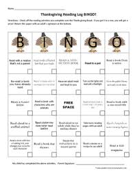 thanksgiving reading log bingo reading logs for and