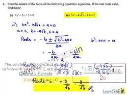 nature of roots of quadratic equations discriminant of quadratic
