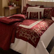 Embroidered Duvet Cover Sets Catherine Lansfield Persia Red Claret Embroidered Duvet Quilt