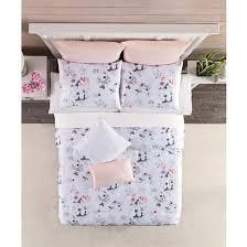 Blush Pink Comforter White U0026 Blush Anemone Comforter Set Queen Target