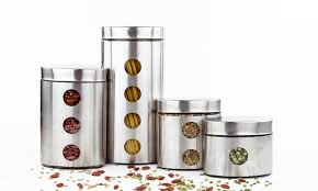 kitchen canisters stainless steel kitchen canister sets groupon goods
