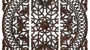 interesting wood medallion wall white carved wooden panels set