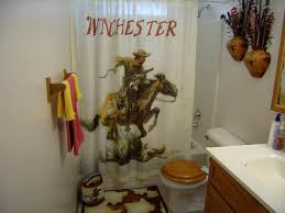 rustic bathroom with winchester western shower curtain and white