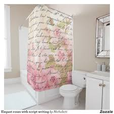 Shower Curtains With Writing Roses With Script Writing Shower Curtain And