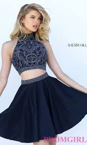 two piece sherri hill short homecoming dress promgirl