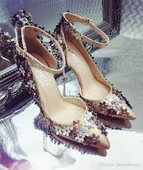 wedding shoes 2017 2017 wedding shoes thin heels bridal pointed toe bling gold