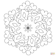 flower buds kolam coloring page free printable coloring pages
