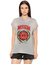 msgm trousers msgm logo cropped cotton jersey sweatshirt grey