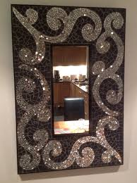 original mosaic bathroom mirror art matt black mirror glass tiles