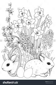 easter coloringpage easter bunny spring flowers set daffodil
