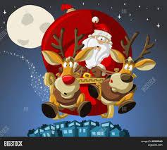 santa claus on sleigh with reindeer stock vector u0026 stock photos
