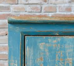 van thiel distressed blue painted large sideboard with 8 doors
