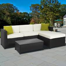 Black Wicker Patio Furniture exterior black cape may wicker with blue cushions and concrete