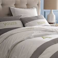 stripe duvet cover shams whitefeather gray west elm throughout