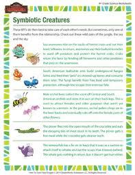 symbiotic creatures u2013 biology worksheet for fourth grade u2013