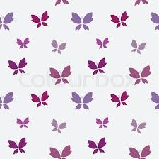 vector seamless pattern with purple butterfly on white background