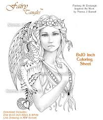 fairy dragon queen fairy tangles grayscale coloring sheets