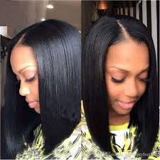 center part bob hairstyle new fashion lace front wig middle part bob style wigs for black