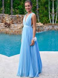 deep v neck sky blue summer pool long prom dress 2017 high