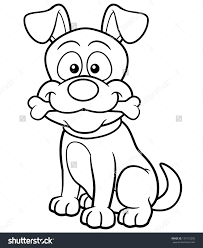 vector illustration of cartoon dog coloring book colouring