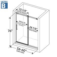 Shower Door Width 60 W X 76 H Sliding Shower Door Ultra B