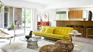 Modern Yellow Sofa Mid Century Modern Living Room Design Ideas With Yellow Sofa And