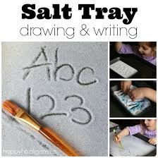 salt tray writing activity for preschoolers happy hooligans