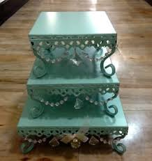 Opulent Treasure Opulent Treasures Tiffany Blue Chandelier Cake Stand Set Of 3