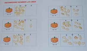 fall free printables decomposing numbers 1 10 with pumpkin seeds