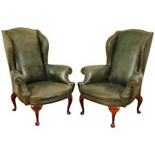 Antique Queen Anne Wing Back Chairs Pair Of Italian Queen Anne Style Walnut And Leather Upholstered