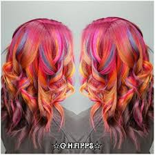 hair color 201 tie dyed curled sand art hair color