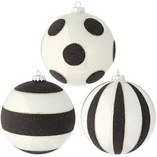 raz imports 5 glittered black and white striped and polka dot