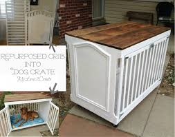 Diy End Table Dog Crate by Repurposed Crib Dog Crate