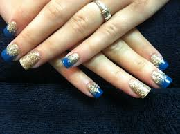 acrylic nails gold blue glitter fade my acrylic nails
