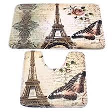 Bathroom Contour Rugs Rug Mat Carpet Sets Tezoo Eiffel Tower Home
