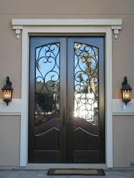 decoration inspiring black entry doors with wrought iron