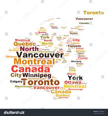 Canada Cities Map by Canada Map Words Cloud Larger Cities Stock Illustration 169188089