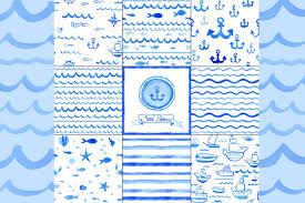watercolor nautical patterns patterns creative market