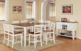White  Oak Finish Modern Counter Height Dining Table WOptions - Oak counter height dining room tables